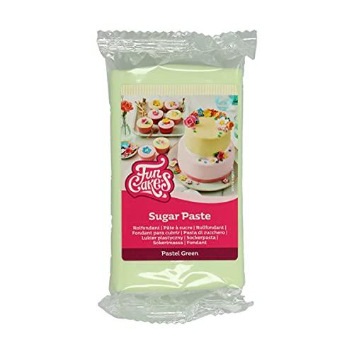 FunCakes Pasta di Zucchero Pastel Green: Facile da Usare, Liscia, Flessibile, Morbida e Pieghevole, Perfetta per la Decorazione di Torte, Halal, Kosher e Senza Glutine. 250 gr