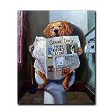 ZXWL Lustiges Tierlächeln Hund lesen Zeitung Ölgemälde