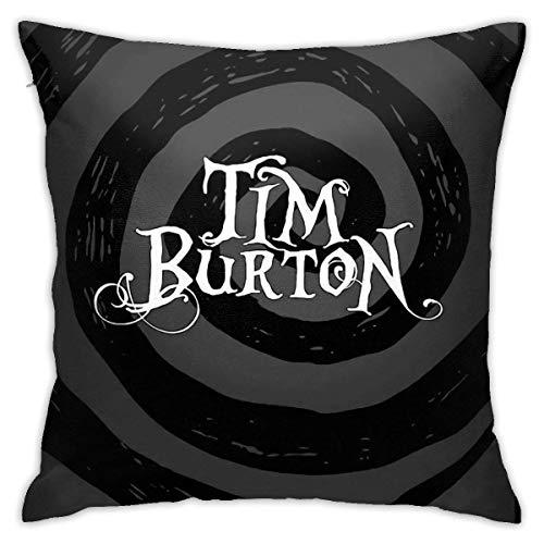 Tim Burton Fodere per Cuscini Decorativi per la casa Cuscino per Divano Letto Cuscino Quadrato Federa per Cuscino 18x18 Pollici