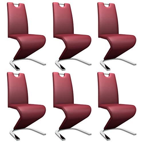 vidaXL 6X Esszimmerstuhl in Zick-Zack-Form Schwingstuhl Freischwinger Stuhl Stühle Polsterstuhl Küchenstuhl Essstuhl Weinrot Kunstleder