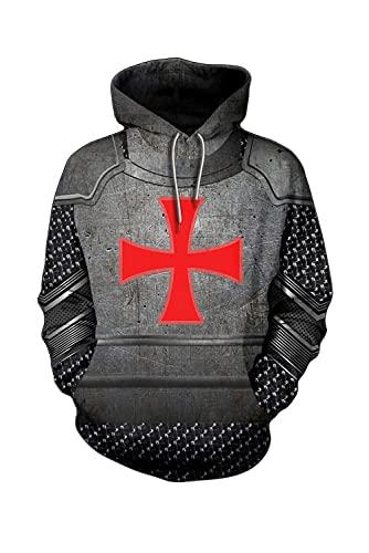 ZRDSZWZ Sudadera con capucha para hombre, diseño de caballero, con estampado cruzado, estilo retro, color gris, talla pequeña)