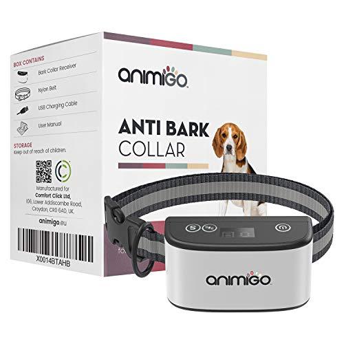 Animigo Collar Antiladridos para Perros Collar Adiestramiento Ajustable con 7 Niveles Vibración y Sonido, para Perros Pequeños, Medianos y Grandes, con Correa Ajustable y Batería Recargable USB