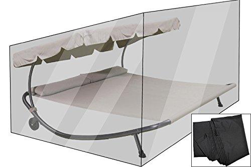 OUTFLEXX Premium Abdeckhaube für Doppelliege, schwarz, wasserbeständig, 212 x 212 x 117 cm