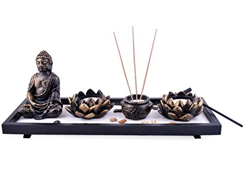 Feng Shui Garten Deko Skulptur Buddha Räucherstäbchenhalter Lotus ROCKS SAND plus gratis Mxsabrina mit roter Schnur Armband Modeschmuck Neu SKU: H1023
