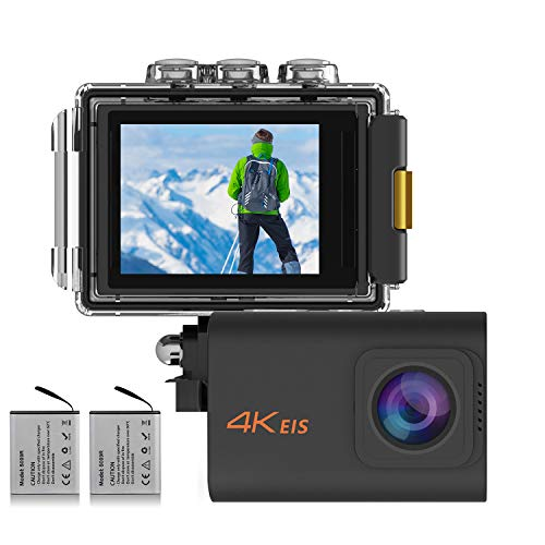 MUSON(ムソン) アクションカメラ 4K高画質 2000万画素 手振れ補正 WiFi搭載 外部マイク対応 30M防水 自撮り棒付き 1200mAhバッテリー2個 [メーカー1年保証] 170度広角レンズ リモコン付き 2インチ液晶画面 HDMI出力 ドライブレコーダーとして使用可能 水中カメラ 防犯カメラ スポーツカメラ ウェアラブルカメラ (ブラック)