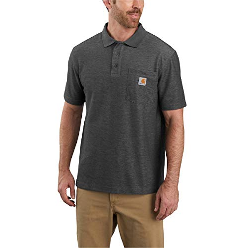 Carhartt Herren Contractors Work Pocket Polo Original Fit Arbeits-T-Shirt, Anthrazit meliert, XX-Large