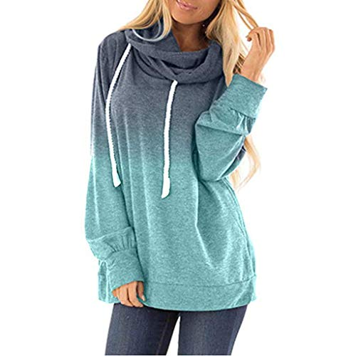 Forthery-Women Casual Hoodies Long Sleeve Sweatshirts Cowl Neck Drawstring Hooded Pullover Top(Blue,XXL)