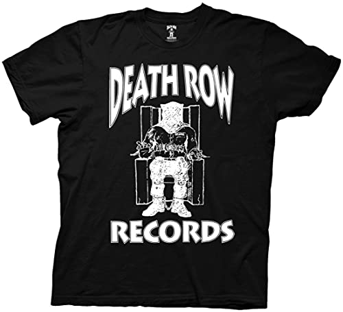 Ripple Junction Death Row Records White Logo Light Weight Crew T-Shirt Large Black