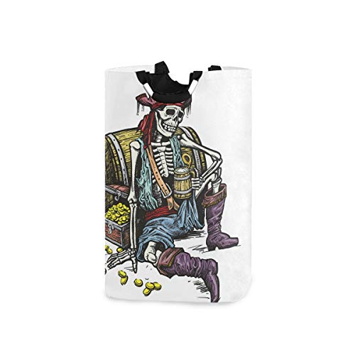 BEITUOLA Laundry Basket,Skeleton Pirate Holding Mug Of Beer Treasure Chest Gold Freebooter Sailor Corsair,Portable Washing Basket,Laundry Hamper with Handle,Storage Laundry Bin,Collapsible
