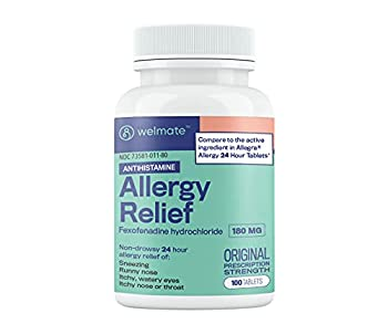 Welmate Allergy Relief   Fexofenadine HCl 180 mg Non-Drowsy Antihistamine   100 Count Tablets
