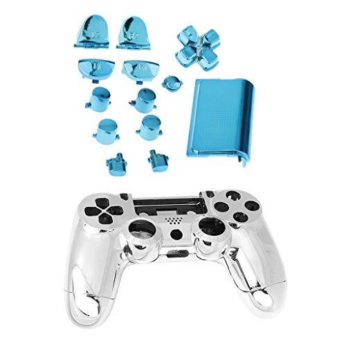 Funda Protectora Caso Carcasa Kit de Accesorios Botones Reemplazo para Sony PS4 Controlador Azul