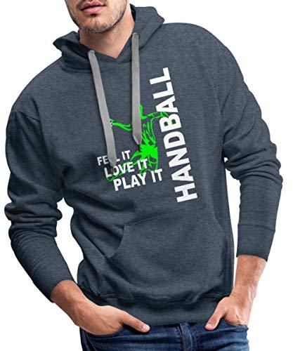 Spreadshirt Handball Feel It Love It Play It Handballer Männer Premium Hoodie, M, Jeansblau