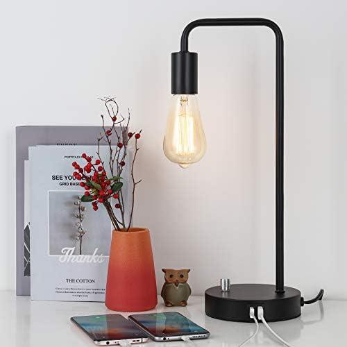 USB Industrial Bedside Table Lamp Edison Nightstand Desk Lamp Modern Black Metal Lamps for Bedroom product image