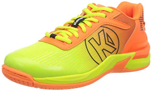 Kempa Attack 2.0 Junior, Zapatillas de Balonmano Unisex Adulto, Multicolor (Fluor Orange/Fluor Gelb 02), 37 EU