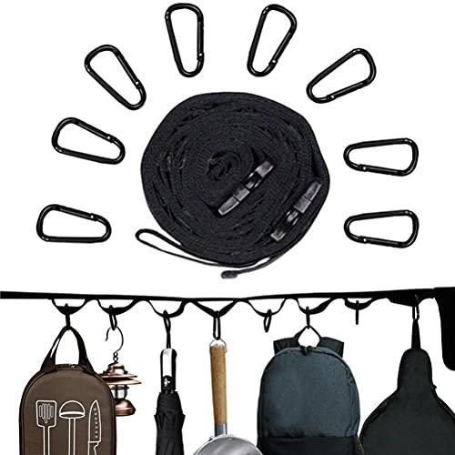 Cordón para Acampar al Aire Libre con 8 mosquetones Cuerda para Colgar portátil para Acampar con Ganchos para Acampar al Aire Libre, Accesorios para Tiendas de campaña