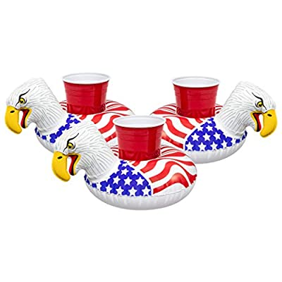 GoFloats Inflatable Pool and Hot Tub Drink Holders (3 Pack) Designed in The US, Choose Your Style