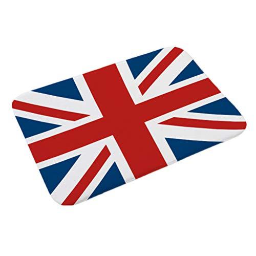 BESTOYARD Fußmatte Rutschfeste Nationalflagge Fußmatten für Küche Wohnzimmer Flur Bad 38x58 cm (der Union Jack)