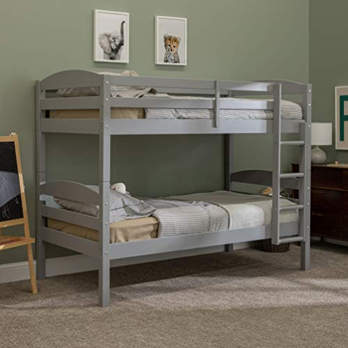 Walker Edison Wood Twin Bunk Kids Bed Bedroom with Guard Rail and Ladder Easy Assembly, Grey