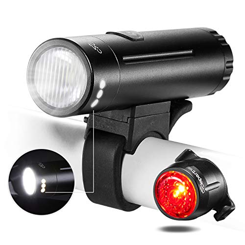 CYCLEPARTNER Elite-700/500 Lumen Bike Light Set for Road and Mountain Bicycle Headlight and Taillight Long Battery USB Rechargeable IP65 Waterproof (500 lumens)