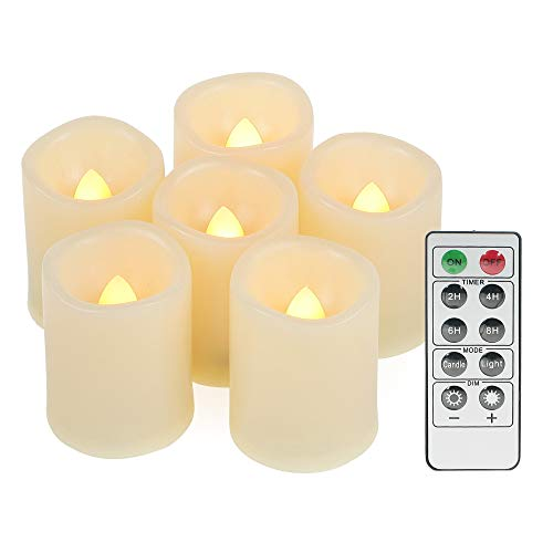 Led Flickering Flameless Votive Tea Lights Candles with Remote Control Battery Operated Set of 6 / Electric Outdoor Tealights Timer Candle for Christmas,Xmas Decorations (Batteries Included) 200Hours