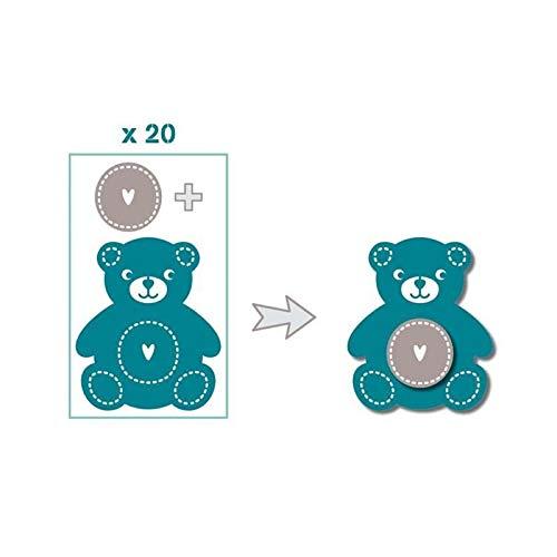 Toga FPD73 Naissance Lot de 20 Formes Découpées Die-Cuts Papier Bleu/Taupe 8,5 x 15,5 x 1 cm