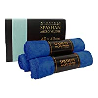 【SPASHAN】マイクロベロア(青) 40×40cm 3枚入り◆洗車後の拭き上げに!ベロア素材で超吸収性 スパシャンコーティング …