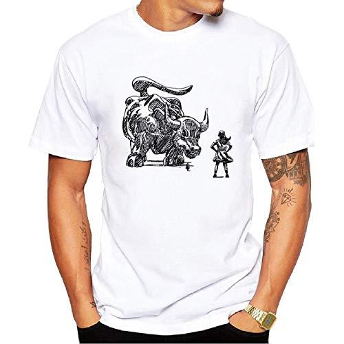 LittleCat Camiseta for hombre Camiseta con estampado de algodón Chica Taurina Creativa Divertida Camiseta de dibujos animados Fiesta Camiseta estampada personalizada Camiseta de algodón de cuello redo