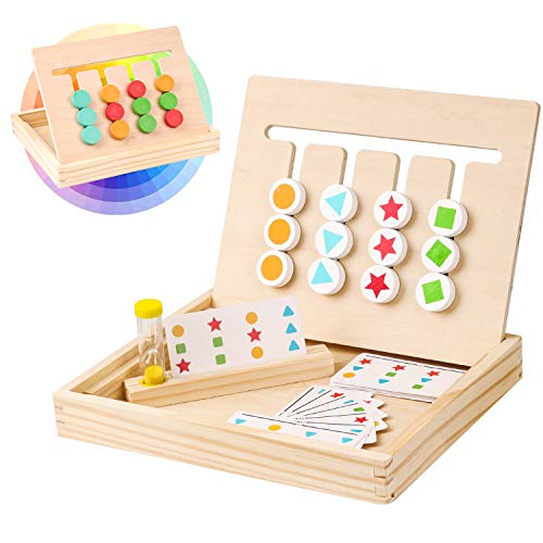 Madera Puzzles Lógico Juego,Color Tablero Rompecabezas Doble,Juguetes Montessori con 18 Tarjetas de Patrón y Reloj de Arena,Cumpleaños Regalo Juego de Educativos Niños Infantiles para 2 3 4 5 Años