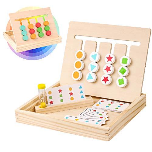 Giochi Montessori in Legno,Matematica Colore Forma Classificazione Gioco,Puzzle Magnetico con Modello Carte e Clessidra,Prescolare Educativi Regalo Giocattoli per Bambini Ragazza Ragazzo 2 3 4 5 Anni