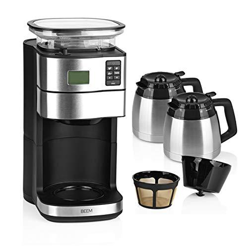 BEEM FRESH-AROMA-PERFECT II Filterkaffeemaschine mit Mahlwerk - 2x Thermokanne | Edelstahl | 2 Thermoskannen a 1,25 Liter | 24h-Timer | 1000 W