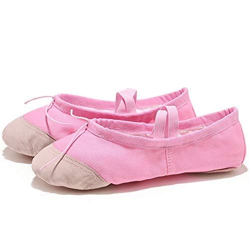 QxinjinxYJWA Yoga Zapatos de Baile de Ballet for niñas Las Mujeres del Ballet Zapatos de Lona de niños de los niños (Color : Pink, Shoe Size : 5)