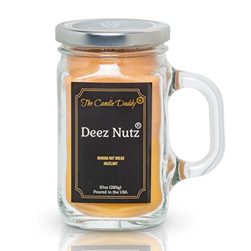 Deez Nutz Candle - Banana Nut Bread, Hazelnut Scented Double Layer Candle - 10 oz Mason Jar Candle - Funny Gag Joke Poured in USA, Gift for Him Her Best Friend BFF Birthday