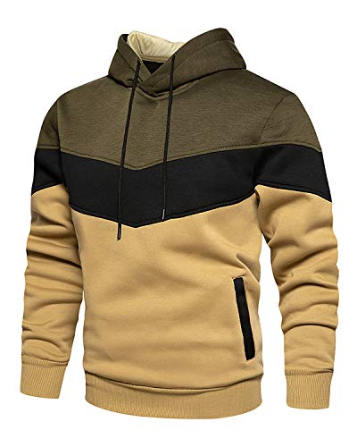 Mooncolour Mens Novelty Color Block Hoodies Cozy Sport Outwear Green Khaki