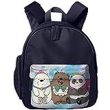Hdadwy We Bare Bears Kids School Bag Mochila para niños y niñas, tamaño Preescolar, jardín de Infantes y Escuela Primaria, Tela Oxford de Tejido Liso 600d, Color Azul Marino