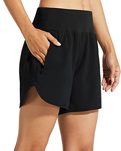 Libin Womens 5 Inches Athletic Running Shorts with Liner Quick Dry Workout Gym Shorts for Lounge Sports with Zipper Pockets,Black M