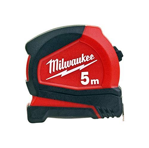 Milwaukee 4932459592 Pro-Compact 4932459592-Cinta métrica (5 m, no magnética, 19 mm de Ancho), Rojo/Negro