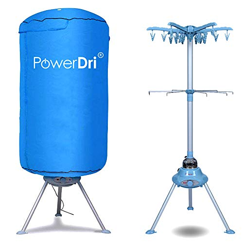 PowerDri Portable Electric Clothes Dryer Energy-Efficient, 15 Kilos, Home Dorms Hot Air Machine Stand Rack with Cover