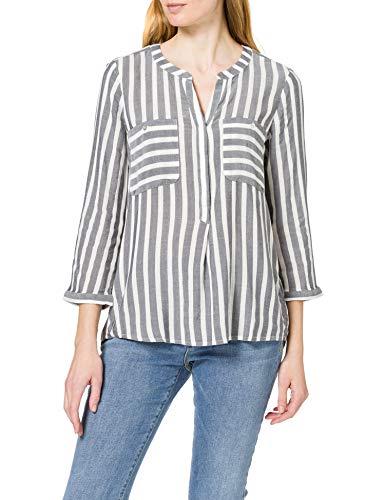 TOM TAILOR Damen Streifen Bluse, 26940-Offwhite Navy Vertical Stripe, 38