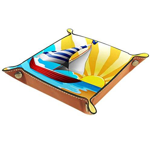 ATOMO Bandeja de almacenamiento de cuero para velas y llaves de playa para guardar monedas, monedas, organizador de mesita de noche, pequeña bandeja para llaves, teléfono o joyería