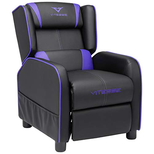 Vitesse Gaming Kids Sofa Recliner,Youth Children PU Leather Armchair Footrest,Padded Backrest, Ergonomic Racing Game Sofa for Toddler Boys Girls, Lightweight Sofa Chair (Purple)