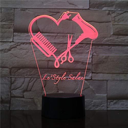 tzxdbh bedlamp, 3D nachtlampje, 7 kleuren, kleurverandering, touchhair stilista in schaar, barberiere gepersonaliseerd naam Negozio hairdswitch, bureaudecoratie, illusie lamppade, USB