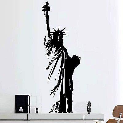 yaofale Große Vinyl-Wandtattoos, Freiheitsstatue, New York, USA, Art Deco, Wohnkultur, Wohnzimmer, Schlafzimmer