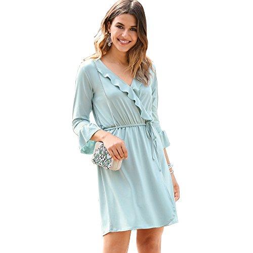 VENCA Vestido Corte Cruzado Mujer by Vencastyle - 014082,Verde Agua,3XL