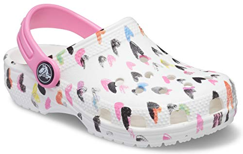 Crocs Classic Heart Print Clog, White, 7 UK Child
