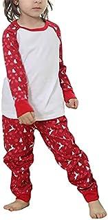Livingsenburg Matcning Christmas Pajamas Parent-Child Nightclothes Cartoon Elk Print Family Matching Set Soft Long Pants R...