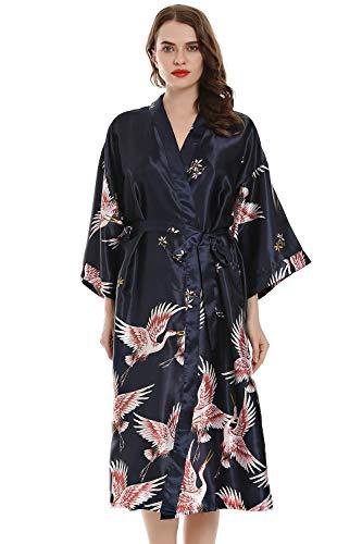 YAOMEI Mujer Vestido Kimono Satén Larga, Camisón para Mujer Sedoso Grua & Flores Robe Albornoz Dama de Honor Ropa de Dormir Pijama Versión extendida (XL (50-56EU), Azul)