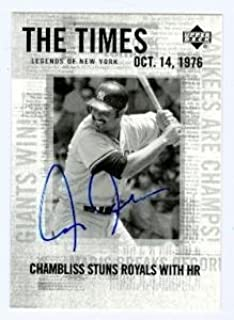 Chris Chambliss autographed baseball card (New York Yankees) 2001 Upper Deck Legends of New York #197