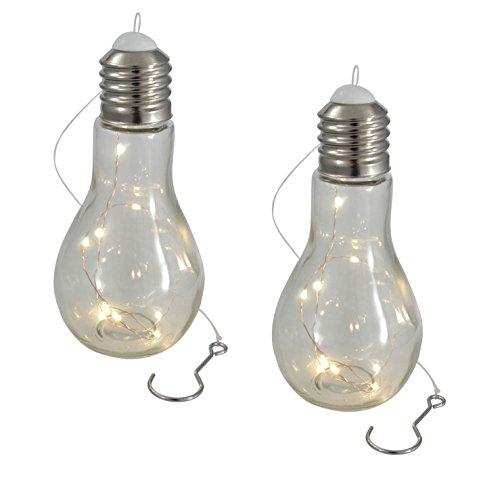 LED Glühbirne mit Lichterkette - 2 Stück - Glas Glühlampe Hängelampe Tisch Leuchte Licht Lampe