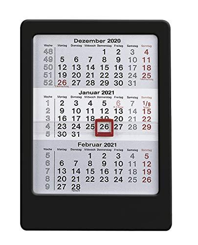 3-Monats-Tischaufsteller 2021 schwarz - Tisch-Kalender 12x16 cm - Büro-Kalender - mit Datumsschieber - Alpha Edition
