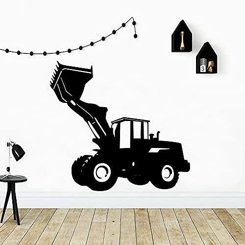 Pegatinas de pared de excavadora de dibujos animados, accesorios para habitación de niños, calcomanías de vinilo extraíbles para arte, carrito de herramientas creativas, mural A2 43X46CM
